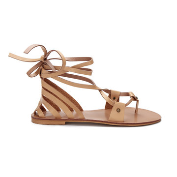 Aprikosen-Leder-Look Lace-up Strappy flache Sandalen