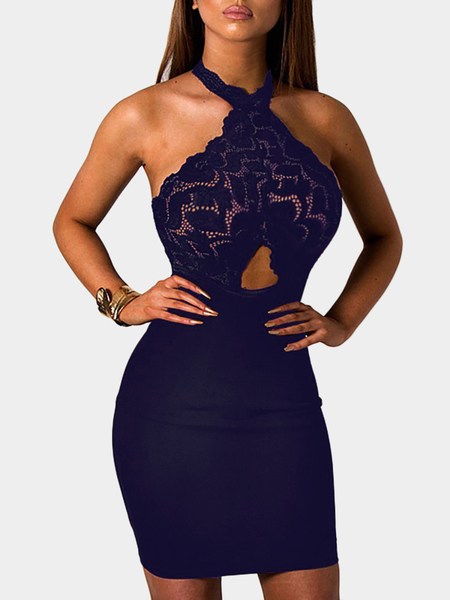 Navy See-through Lace Insert Cut Out Halter Mini Dress