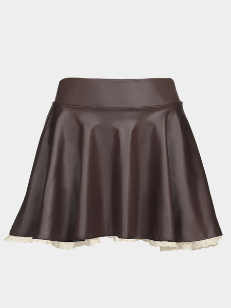 Khaki Leather Skater Skirt com Lace Hem