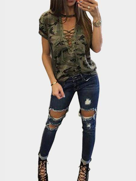 Green Sexy Camouflage Pattern V-Ausschnitt Lace-up Front T-Shirt