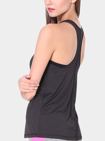 Active Quick Drying Loose T-shirt curto sem mangas em preto