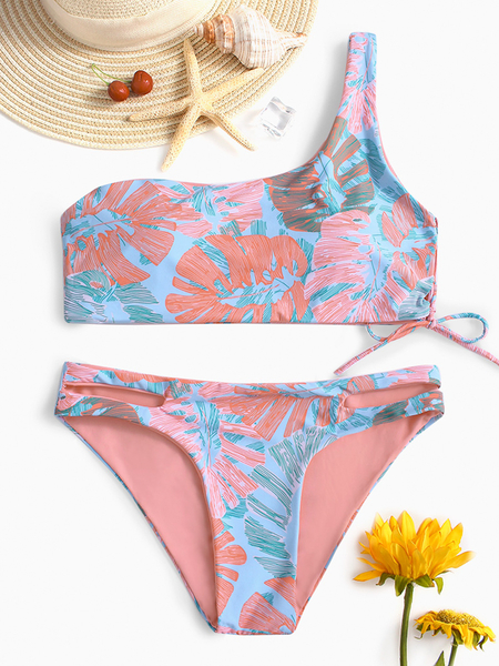 Pink Tropical Print Asymmetrical Lace-up Bikini Set