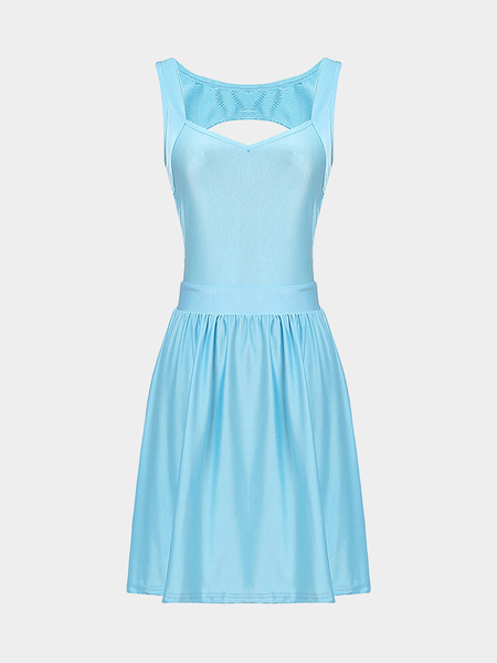 Light Blue Sleeveless Mini Dress with Cut Out Back
