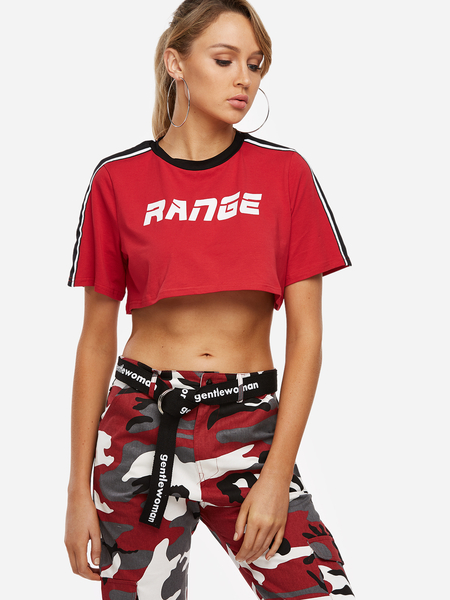 Red Letter Printed Round Neck Short Sleeves Gym Tops