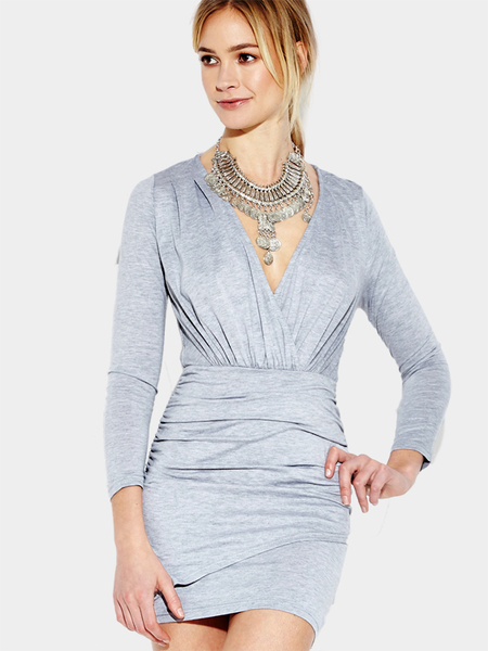 Gray V-neck Bodycon Long Sleeves Dress
