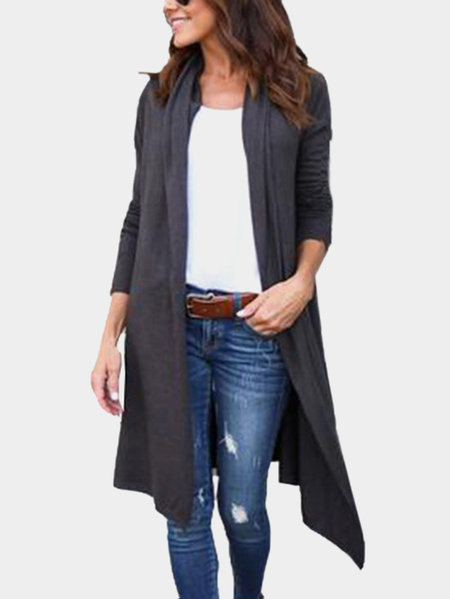 Grey Solid Color Knitting Long Sleeves Cardigans
