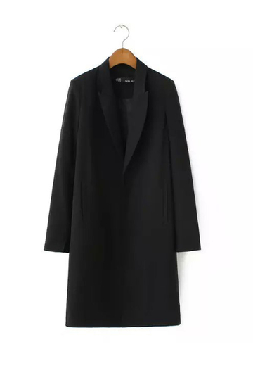 Black Long Pea Trench Coat