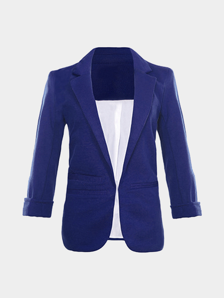 Royal Blue Fashion Three Quarter Length Sleeves Open Front Blazer