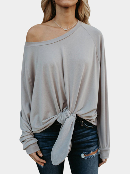 Grey Self-tie Design Round Neck Long Sleeves Blouses