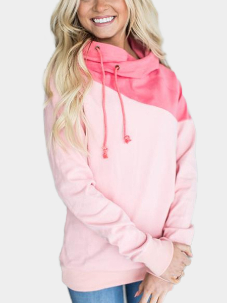 Pink Hooded Long Sleeves Bodycon Hem Sweatshirts