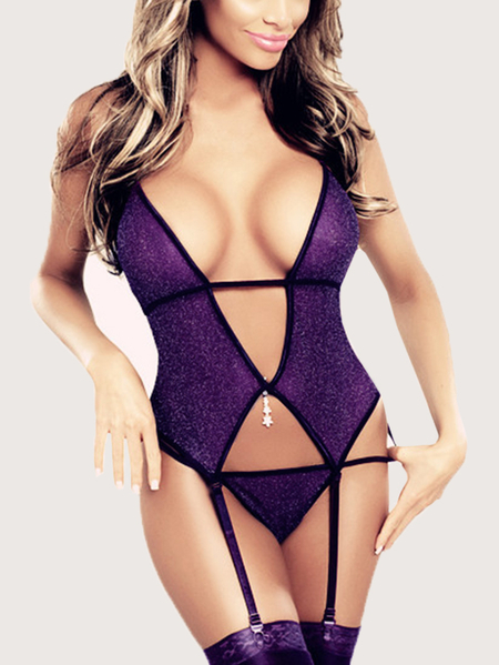 Purple Backless Design Deep V Neck  Lingerie Sets