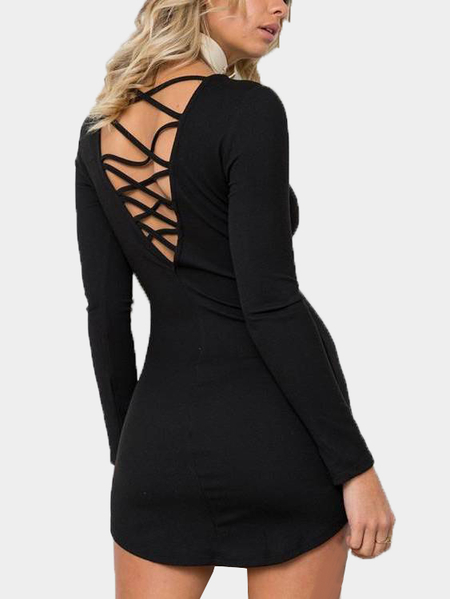 Black Criss-crossed Design Round Neck Long Sleeves Dress