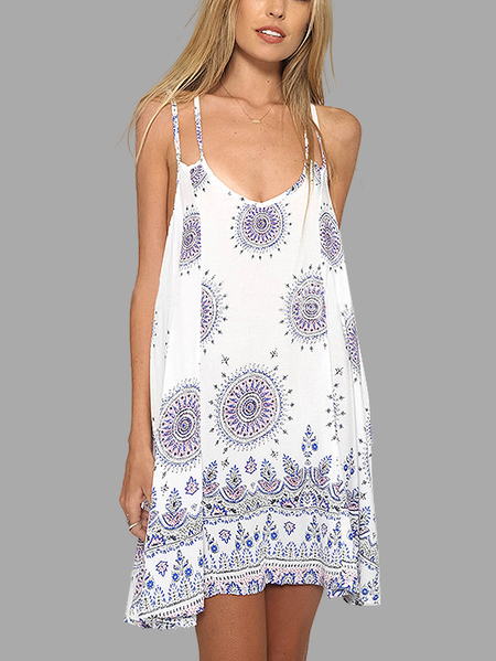 Light Fabric Bohemia Print Loose Open Back Mini Dress