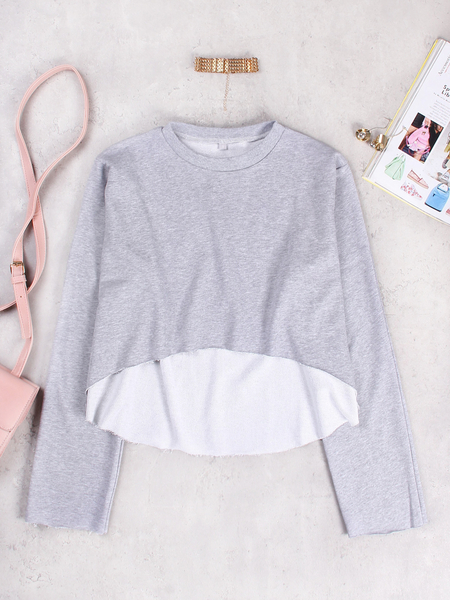 Active Round Neck Cut Out Loose Sweatshirts in Grey