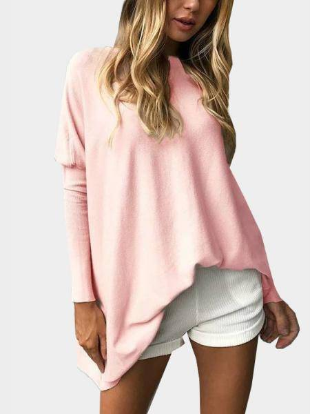 Pink Crew Neck Long Sleeves T-shirt