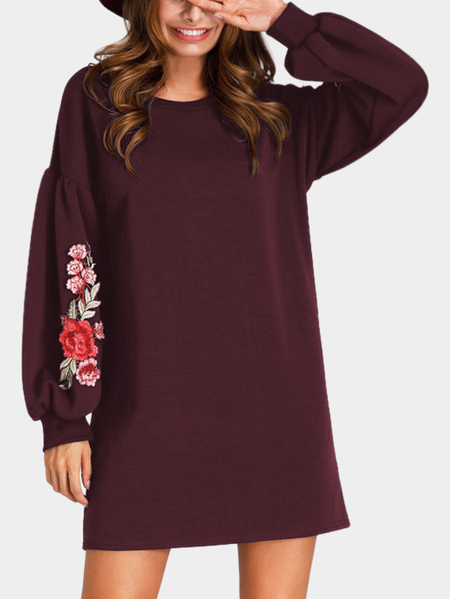 Burgundy Embroidered Crew Neck Lantern Sleeves Dress