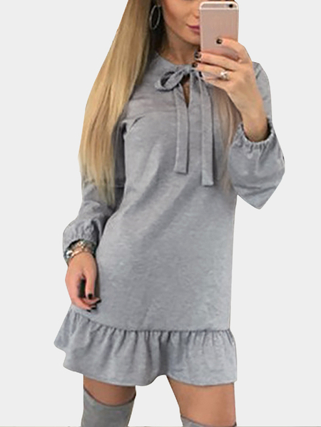 Light Grey Self-tie Flounced Hem Causal Dress