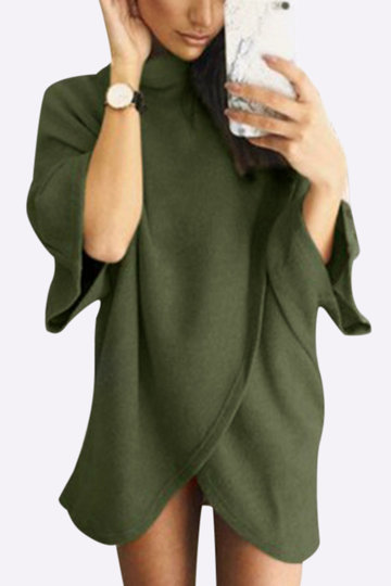Army Green Fashion High Neck Irregular Hem Jumper