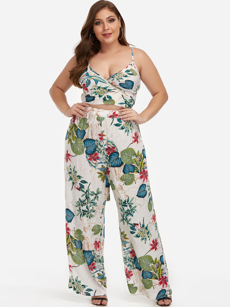 Plus Size Floral Print Self-tie Crop Top & Wide Leg Pants Two Piece Outfits