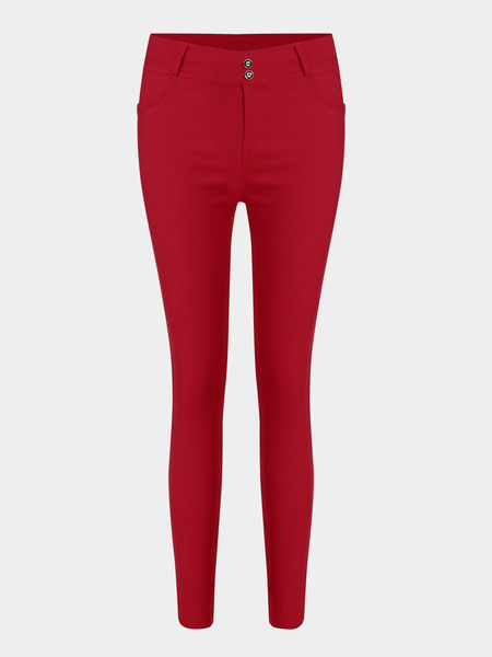 Red Simple Ladies Style Fashion Leggings