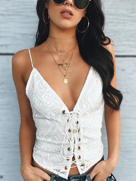 White Lace-up Front V-neck Crochet Lace Cami Top