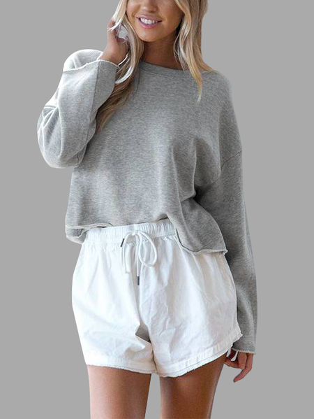 Light Grey Simple Long Sleeves Sweater