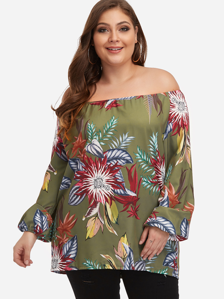 Plus Size Army Green Floral Print Off The Shoulder Blouse