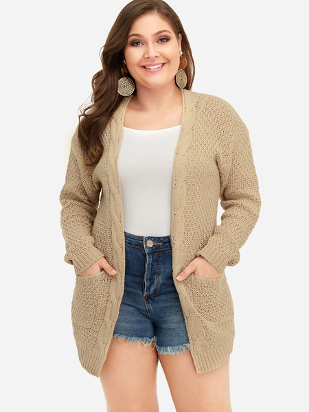 Plus Size Khaki Pocket Design Knit Cardigan