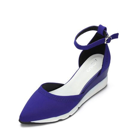 Blue Ankle Strap Pointed Toe Heels