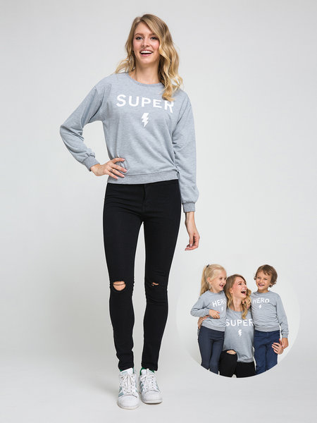 Grey Mom and Me Grid Round Neck Long Sleeves Sweatshirt - Mom