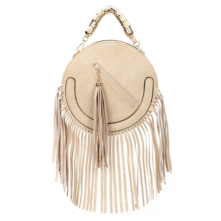 Rodada do Couro-olhar Fringe ouro Top Handle Bag in Beige