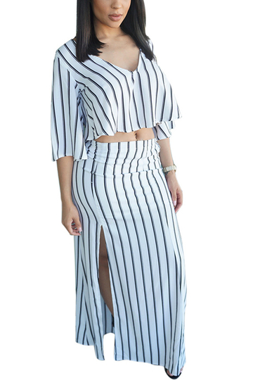 Plunge Crop Top & Split Maxi Skirt Stripe Co-ord Set