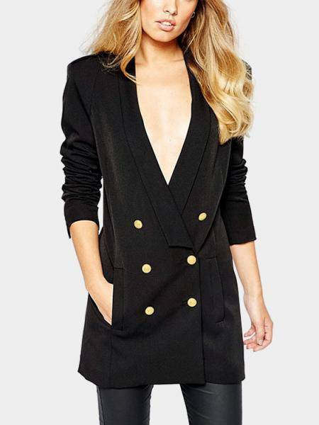 Black Long Sleeves Lapel Collar Double Breasted Blazers