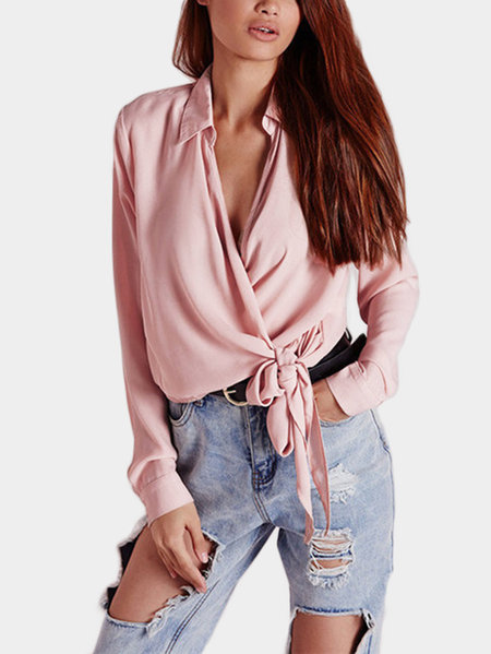 Pink Crossed Front Design Deep V Neck Long Sleeves Blouse