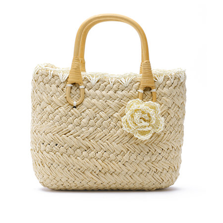 Flower Embellish Straw Handbag in Yellow