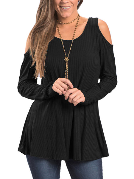 Black Round Neck Cold Shoulder Thermal Top
