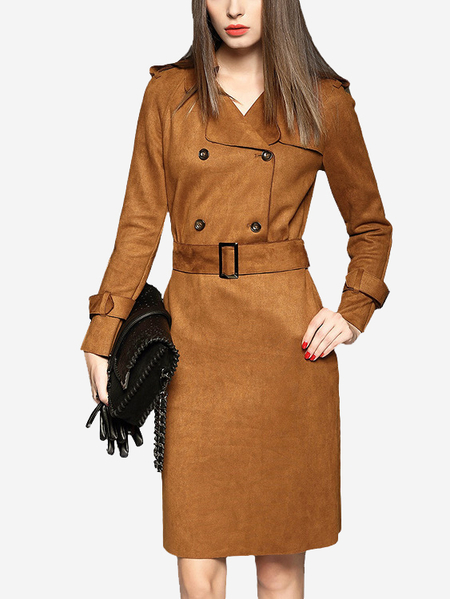 Camel Suede Double Breasted Collar Vestido Midi