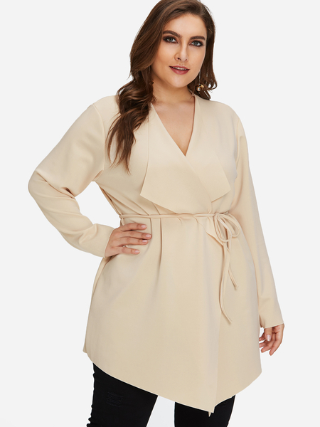 Plus Size Plain Lapel Trench Coat With Waist Belt