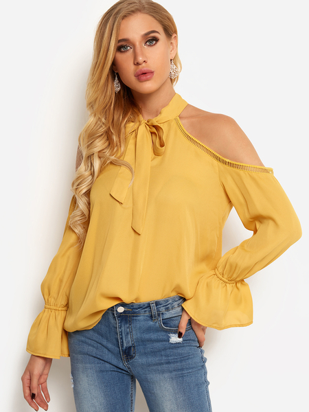 Yellow Cold Shoulder Self-tie Front Plain Hollow Details Blouses