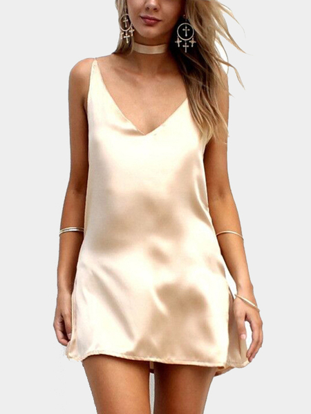 Sleeveless V-neck Cut V Shape Back Mini Satin Dress