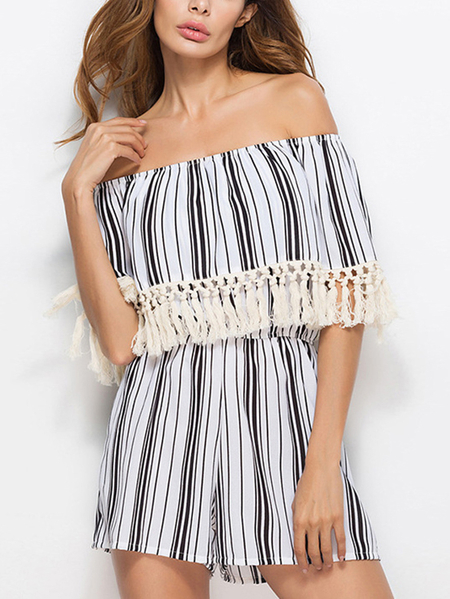 Off Shoulder Stripe Pattern Tassel Embellished Tiered Playsuit
