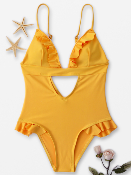 Yellow Ruffle Design Cut out Front Backless Swimwear