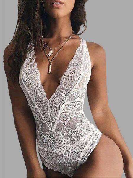 White Sexy Lace Details Backless Bodysuit