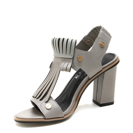 Tassel Heeled Sandals In Grey