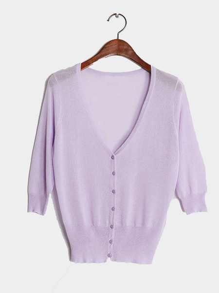 Light Purple Lightweight Knit Mini Cardigan