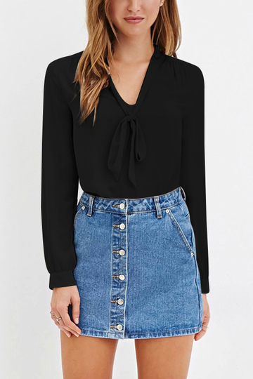 Black Curve Hem V Neck Self-tied Blouses