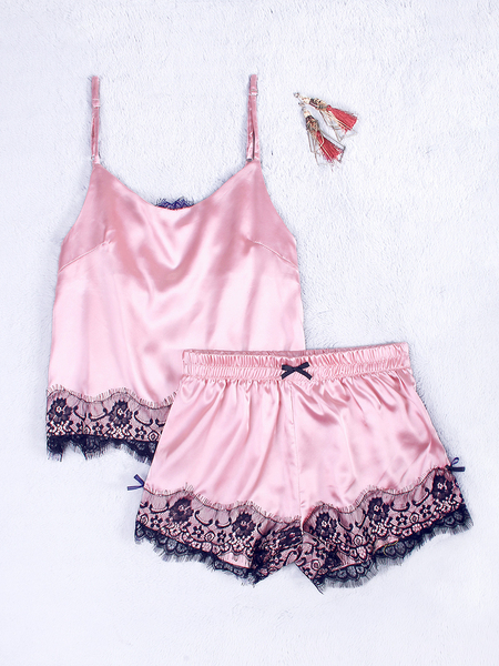V-neck Lace Details Pajamas Set in Pink