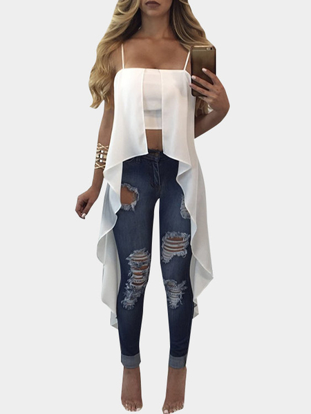White Spaghetti Strap Solid Zipper Asymmetrical Cami Top