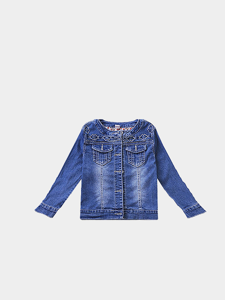 Blue Long Sleeve Embroidered Denim Jacket