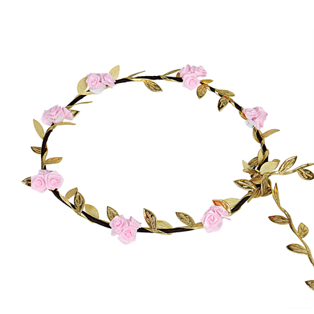 Pastoral Wreath Straw Tying Headband in rose with leaves